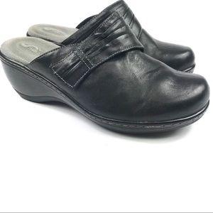 SoftWalk Mason black leather clog sz 8 Wide